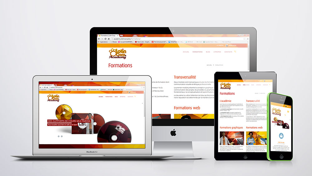 Vue responsive site web Lotin Corp. Academy