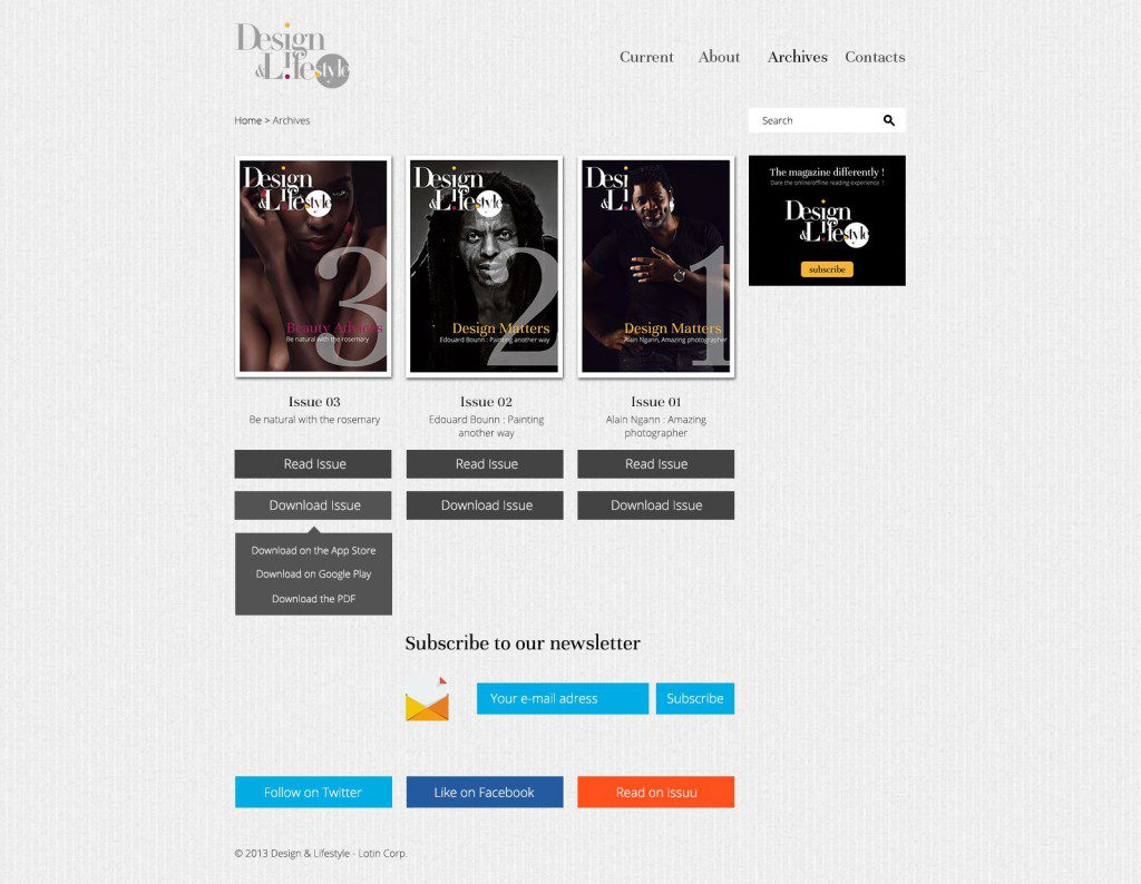 Page de garde des publications - Design & Lifestyle