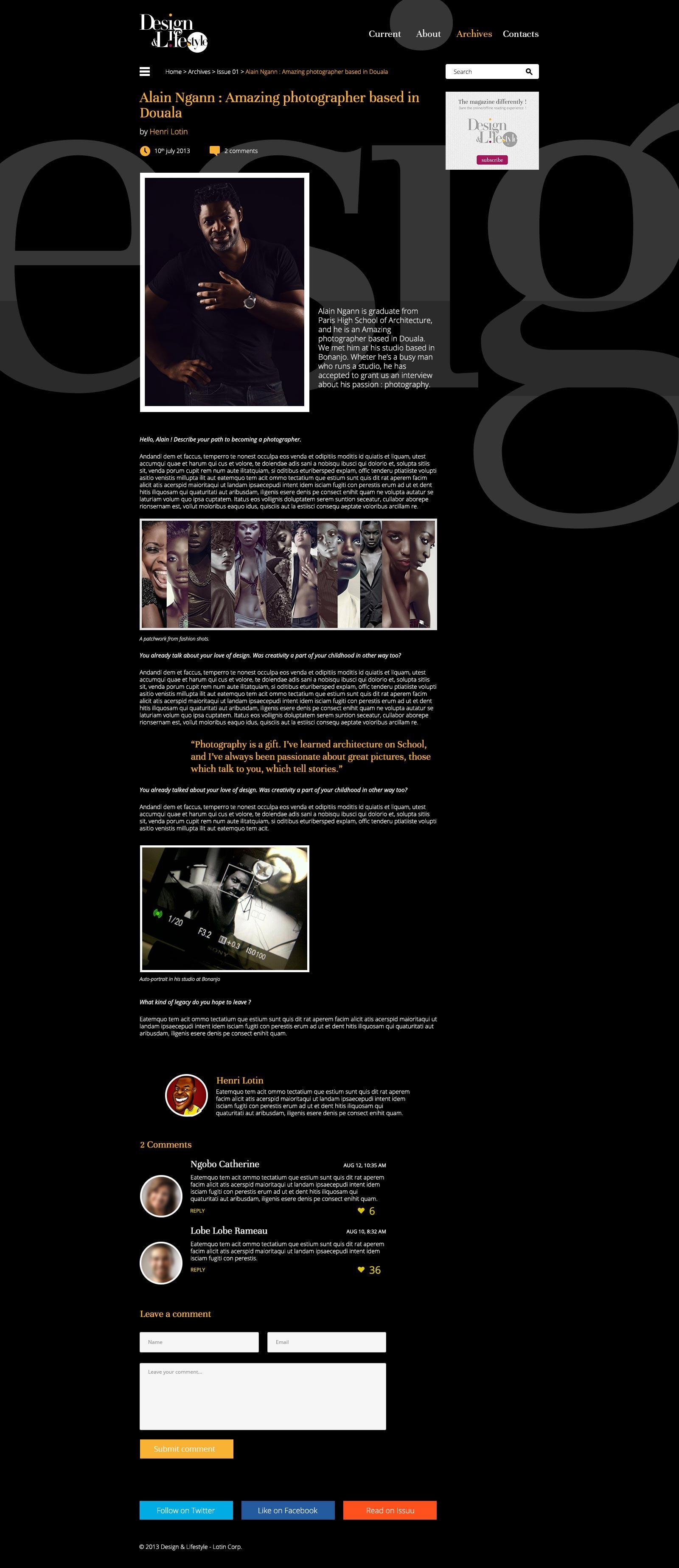 Page d'article Design - Design & Lifestyle