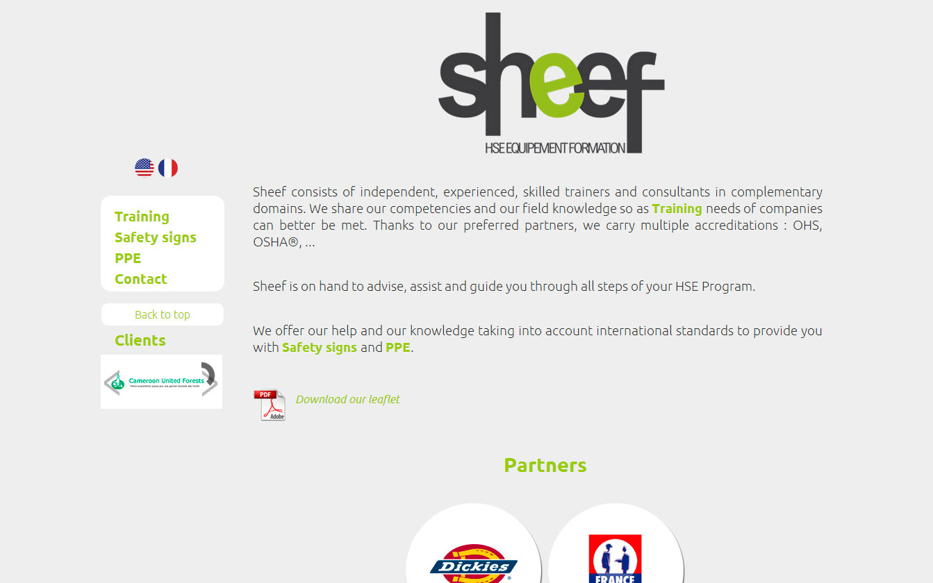 Interface one page Sheef