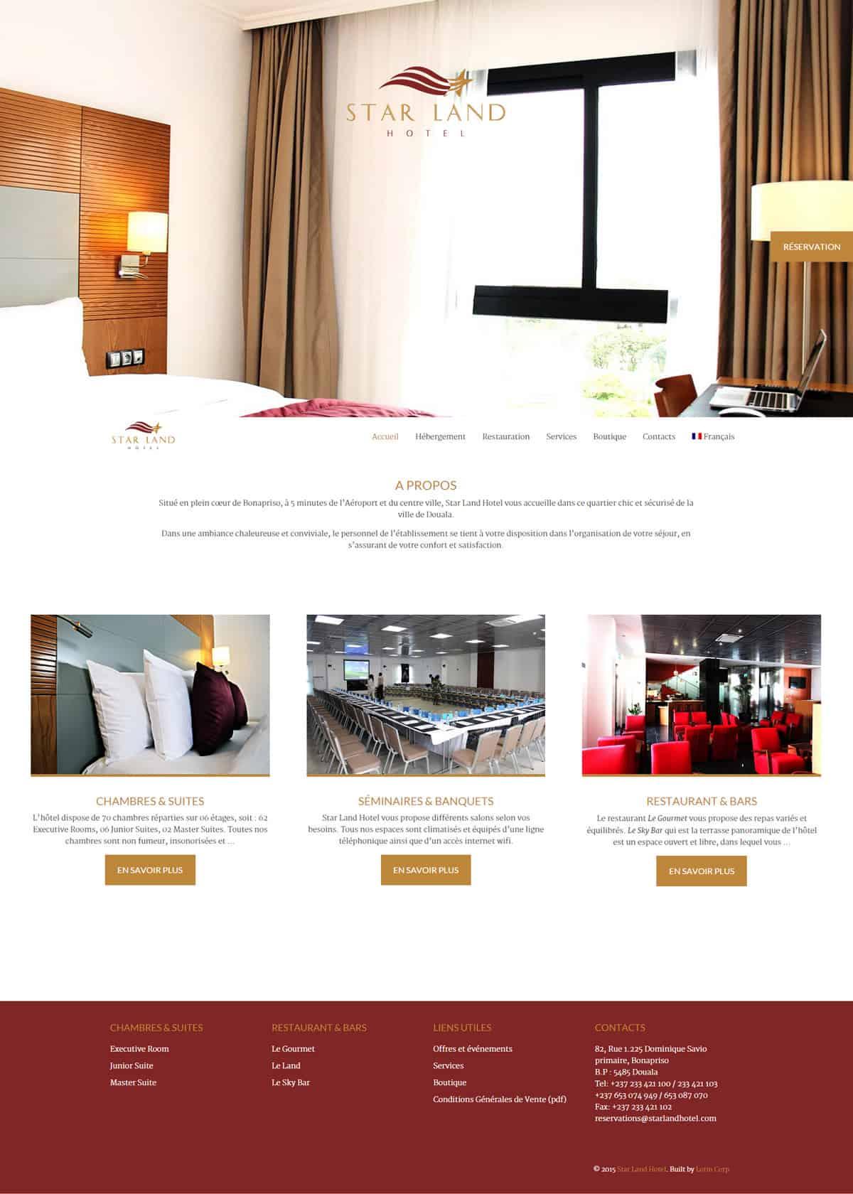 La page d'accueil propose des images plein écran pour immerger le visiteur dans l'univers de l'hôtel, avec un bouton de réservation ostensible.