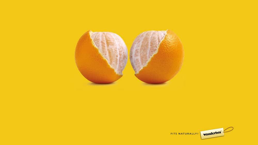 Exemple de métaphore visuelle dans une publicité pour soutien-gorge !