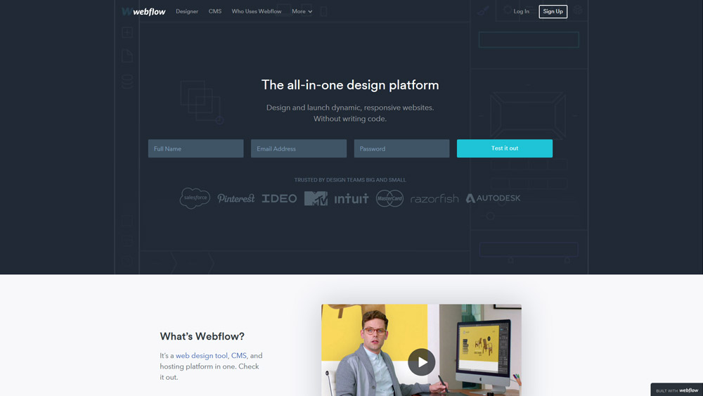 Page d'accueil de Webflow