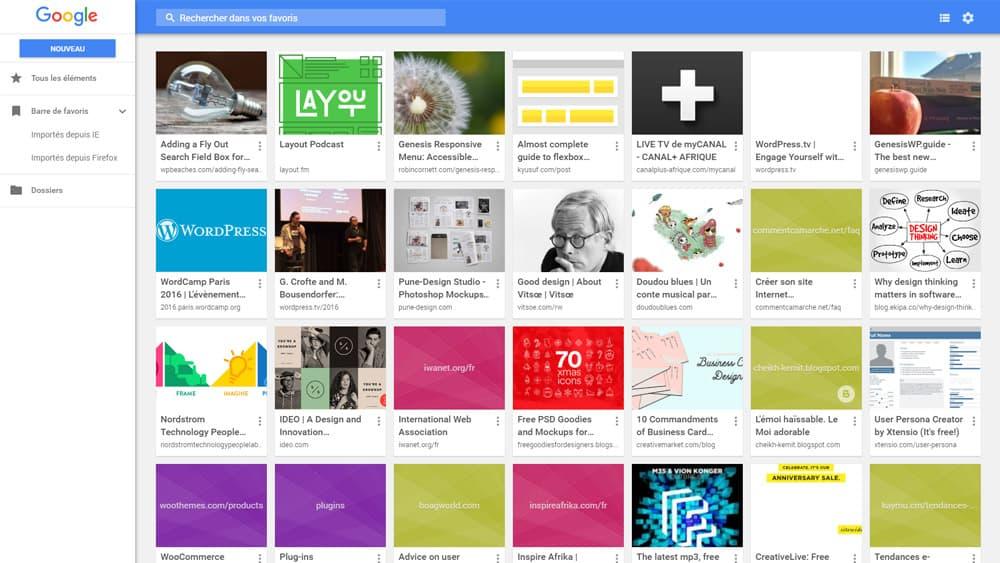 """Onglet """"Favoris"""" sur Google Chrome"""