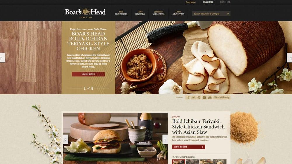 Page d'accueil d'un site web de restaurtant