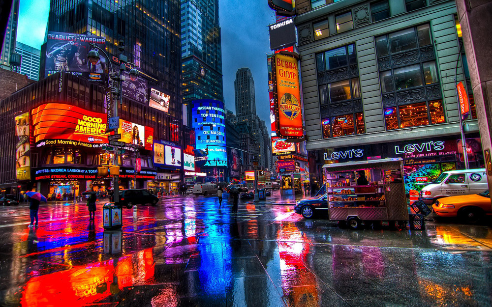Combat de marques au Time Square de New-York (USA)