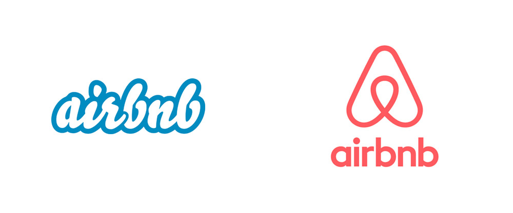 Logo Airbnb avant et après