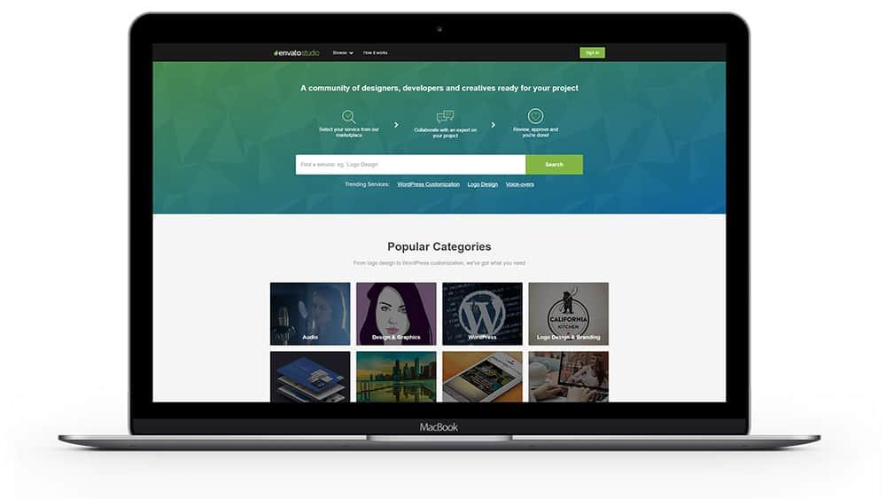 Envato Studio - Une approche différente de celle des autres plateforme. Un designer est mis à votre disposition pour vous accompagner tout au long de votre projet.