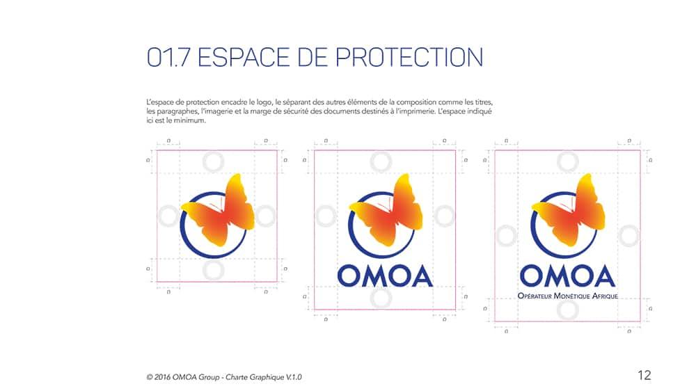 Différence identité visuelle et charte graphique. Extrait charte graphique OMOA.