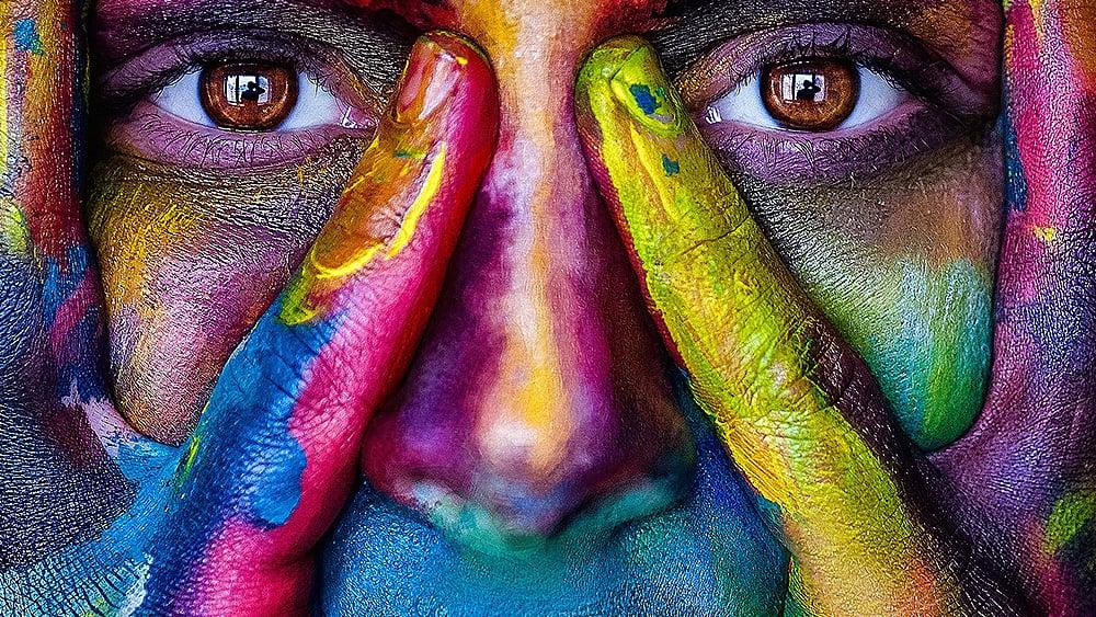 teintes, visage coloré