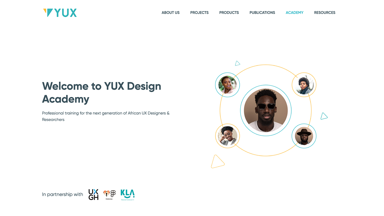 yux design academy homepage